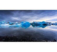 Sunset Lagoon: Glaciers at Jökulsárlón, Iceland Photographic Print