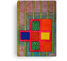 Attached Orange Squares to a Basic Grid  Canvas Print