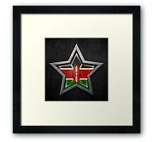 Kenyan Flag Inside of an Aged and Scratched Star Framed Print