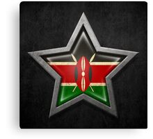 Kenyan Flag Inside of an Aged and Scratched Star Canvas Print