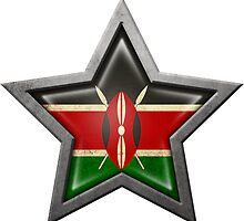 Kenyan Flag Inside of an Aged and Scratched Star by Jeff Bartels