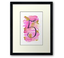 Number 5 Table Number - black on pinks with gold Framed Print