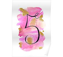 Number 5 Table Number - black on pinks with gold Poster