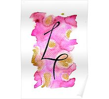 Number 4 Table Number - black on pinks with gold Poster