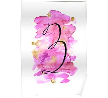 Number 3 Table Number - black on pinks with gold Poster