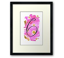 Number 6 Table Number - black on pinks with gold Framed Print