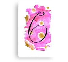 Number 6 Table Number - black on pinks with gold Canvas Print