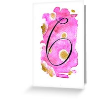 Number 6 Table Number - black on pinks with gold Greeting Card