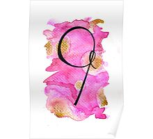 Number 9 Table Number - black on pinks with gold Poster