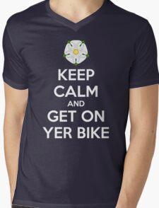 Keep Calm and Get On Yer Bike Mens V-Neck T-Shirt