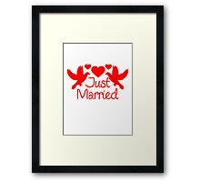 Just Married Dove Hearts Design Framed Print