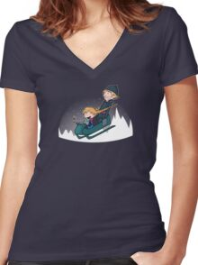 A Snowy Ride Women's Fitted V-Neck T-Shirt