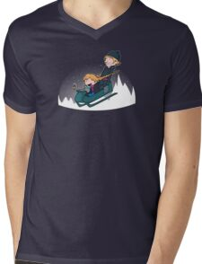 A Snowy Ride Mens V-Neck T-Shirt