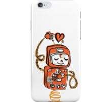 Valentine's Day Robot Orange Yellow iPhone Case/Skin