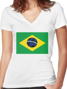 Brazilian flag and football Women's Fitted V-Neck T-Shirt