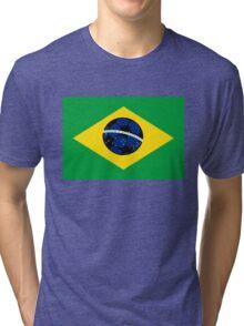 Brazilian flag and football Tri-blend T-Shirt