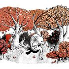 Little Red Riding Hood Print with wolf, forest by Foss