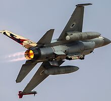 Israeli Air Force (IAF) F-16A (Netz) Fighter jet at takeoff  by PhotoStock-Isra