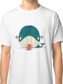 Little cat sitting down to dine on a huge whale Classic T-Shirt