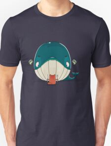 Little cat sitting down to dine on a huge whale Unisex T-Shirt