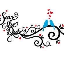 Save the date with blue love birds by beakraus