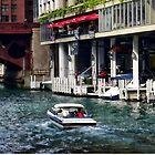 Motorboat Near Dearborn Street Bridge by Susan Savad