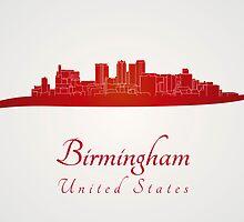 Birmingham AL skyline in red by paulrommer