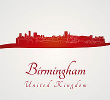 Birmingham skyline in red by paulrommer