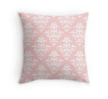 Damask Pattern | Rose Quartz & White | Pantone Color of the Year 2016 Throw Pillow