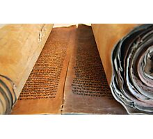 Ancient handwritten Torah scrolls from Yemen  Photographic Print