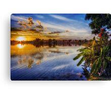Sun sets blue Canvas Print
