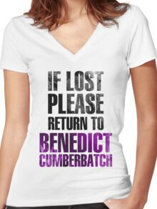If lost please return to Benedict Cumberbatch Women's Fitted V-Neck T-Shirt