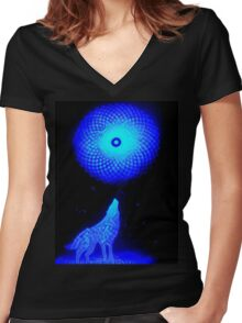Fractal Moon Cry Women's Fitted V-Neck T-Shirt