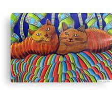 402 - STRIPY CATS  - DAVE EDWARDS - COLOURED PENCILS - 2014 Canvas Print