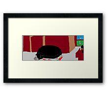 Cat asleep in bedroom -(040214)- Digital artwork/MS Paint Framed Print