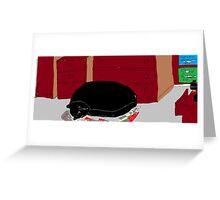 Cat asleep in bedroom -(040214)- Digital artwork/MS Paint Greeting Card