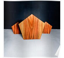 Three Orange Pentagons Poster