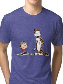 Calvin & Hobbes (dart war games edition) Tri-blend T-Shirt
