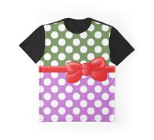 Ribbon, Bow, Polka Dots - Green Purple Red Graphic T-Shirt