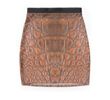 Leather Skin Texture Chain Metalic Art Mini Skirt