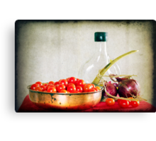Tomatoes, red onions and olive oil Canvas Print