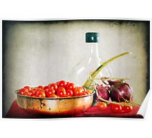 Tomatoes, red onions and olive oil Poster