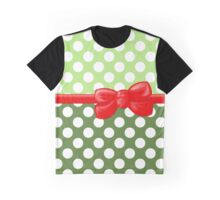 Ribbon, Bow, Polka Dots - White Green Red Graphic T-Shirt