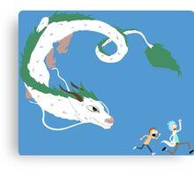 Haku, Rick, and Morty Canvas Print