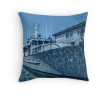 Yacht and Reflections in Blue Throw Pillow