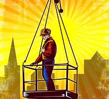 Construction Worker Platform Retro Poster by patrimonio