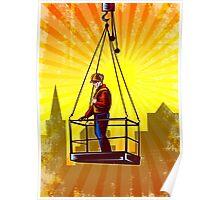 Construction Worker Platform Retro Poster Poster