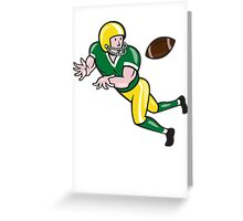 American Football Wide Receiver Catch Ball Cartoon Greeting Card