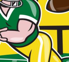 American Football Wide Receiver Catching Ball Cartoon Sticker