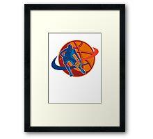 Basketball Player Dribbling Ball Woodcut Retro Framed Print